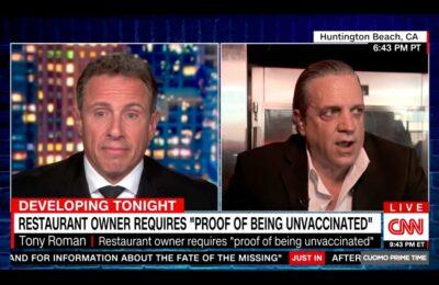 """Chris Cuomo llamó al dueño del restaurante """"idiota"""" en una extraña entrevista"""